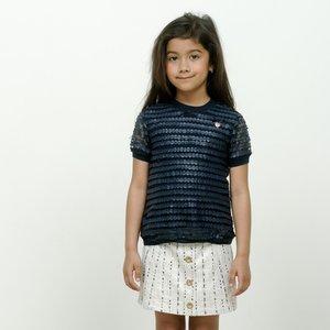 LE CHIC meisjes t-shirt fake leather dots blue navy