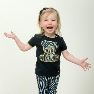 LE CHIC meisjes t-shirt zebra chic applique blue navy