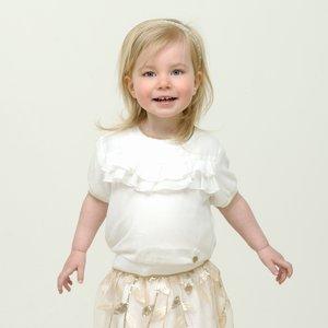 LE CHIC meisjes blouse ruffles fancy voile off white