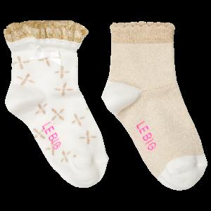 LE BIG meisjes 2-pack sokken feather white roxy