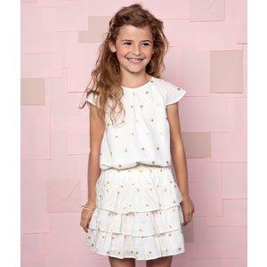 LE BIG meisjes jurk feather white romy