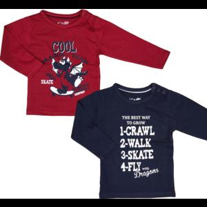 KNOT SO BAD jongens 2-pack longsleeve skate dragon red navy