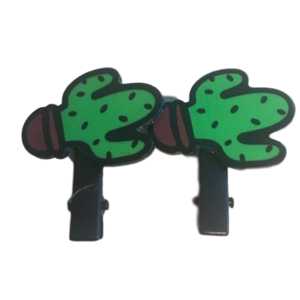 meisjes haarclips groene cactus 2-pack