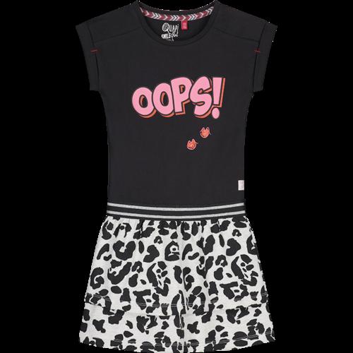 Quapi Quapi meisjes jurk dark grey leopard aiko