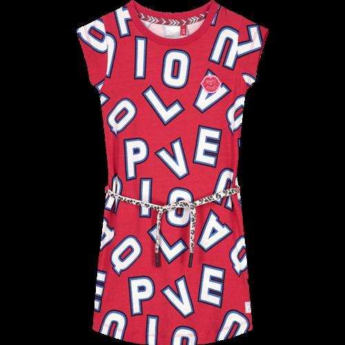 Quapi Quapi meisjes jurk cherry red letter aafje