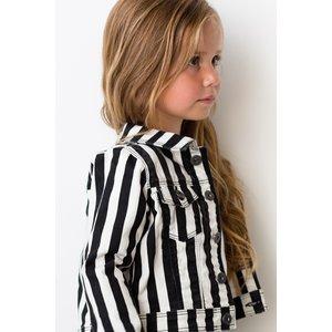 LEVV meisjes blazer black white big stripe