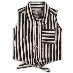 KOKO NOKO meisjes blouse stripe sage black white