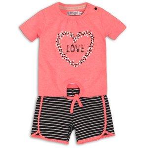 DIRKJE BABYKLEDING meisjes 2 delige set black/white stripe bright coral