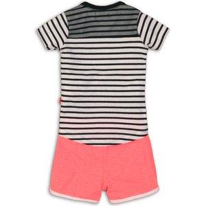 DIRKJE BABYKLEDING DIRKJE meisjes 2 delige set black/white stripe bright coral joyful lets rock