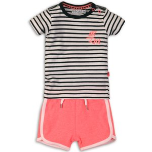 DIRKJE BABYKLEDING meisjes 2 delige set black/white stripe bright coral joyful lets rock