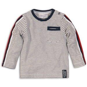 DIRKJE BABYKLEDING jongens longsleeve white navy stripe