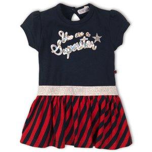 DIRKJE BABYKLEDING meisjes jurk navy red stripe