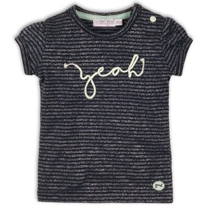 DIRKJE BABYKLEDING meisjes t-shirt navy silver stripe