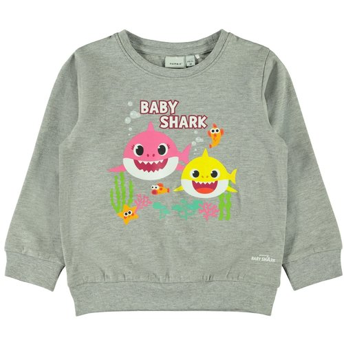 NAME IT NAME IT meisjes trui grey melange baby shark