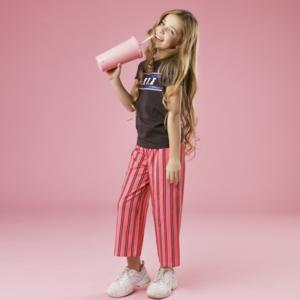 LITTLE MISS JULIETTE meisjes joggingbroek pink stripe