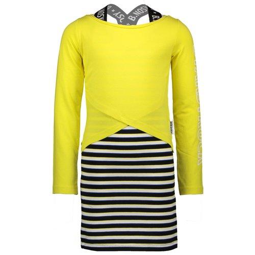 B.NOSY B.NOSY meisjes 2 delige set jurk met longsleeve lemon