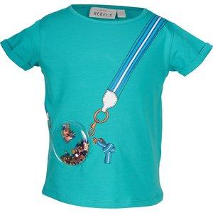 MINI REBELS meisjes t-shirt dark mint spots
