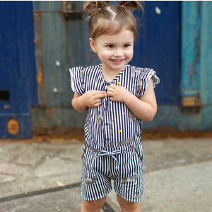 Quapi meisjes jumpsuit indigo blue stripe bianca