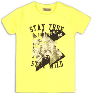 DJ DUTCHJEANS jongens t shirt neon yellow stay true stay wild