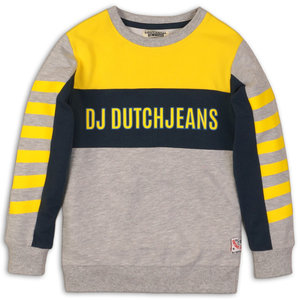 DJ DUTCHJEANS jongens trui grey melee yellow fast or last