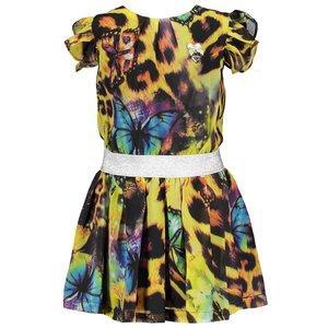LE CHIC meisjes jurk green victory leopard