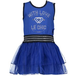 LE CHIC meisjes jurk mazarine blue with love