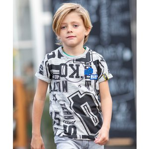 Quapi jongens t-shirt dark grey text aart