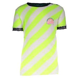B.NOSY meisjes t-shirt safety yellow stripe