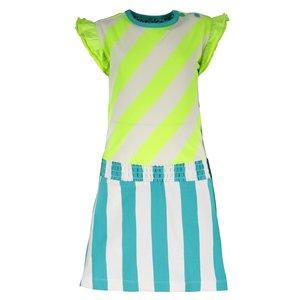 B.NOSY meisjes jurk safety yellow stripe