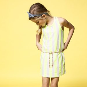 B.NOSY meisjes jurk safety yellow stripe