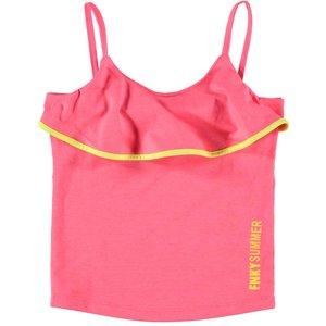 FUNKY XS meisjes top fluor pink ruffle