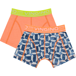 VINGINO jongens 2-pack boxershorts neon orange graphic