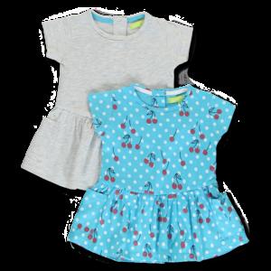 LEMON BERET meisjes 2-pack jurken light grey melange