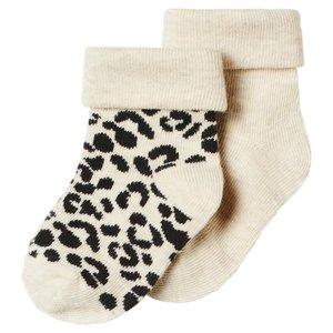 NOPPIES meisjes 2-pack sokken oatmeal blanquillo