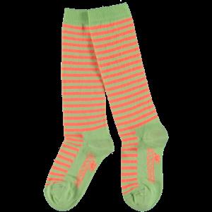 4PRESIDENT meisjes kniesok coral/neon pastel green stripes bess