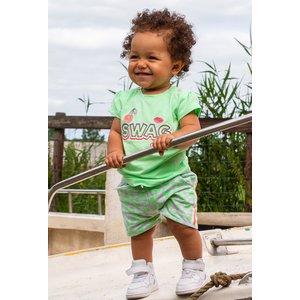 4PRESIDENT meisjes korte broek neon pastel green aop deena