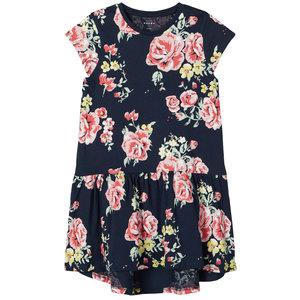 NAME IT meisjes jurk dark sapphire aop big flowers