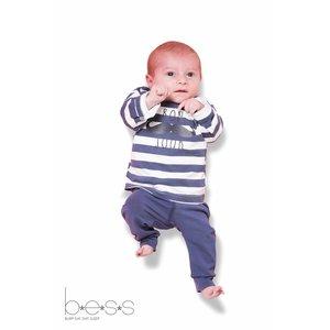 B.E.S.S. shirt longsleeves boy bonjour striped blue
