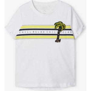 NAME IT meisjes t-shirt bright white palmtree