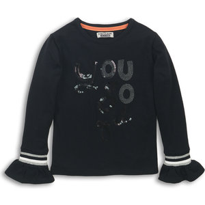 DJ DUTCHJEANS meisjes longsleeve black yes! you go girl!