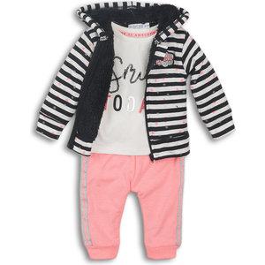 DIRKJE BABYKLEDING Dirkje meisjes 3 delige set black bright pink off white today