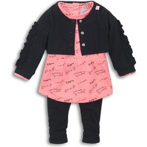 DIRKJE BABYKLEDING Dirkje meisjes 3 delige set black bright pink today