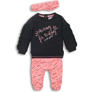 DIRKJE BABYKLEDING Dirkje meisjes 2 delige set + haarband black bright pink today