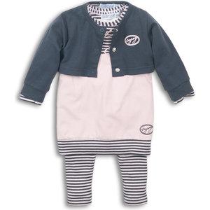 DIRKJE BABYKLEDING Dirkje meisjes 3 delige set jurk pink dark grey enjoy
