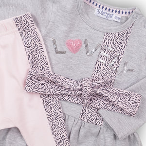 DIRKJE BABYKLEDING Dirkje meisjes 2 delige set + haarband grey melee+pink enjoy