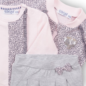 DIRKJE BABYKLEDING Dirkje meisjes 3 delige set pink  grey melee enjoy