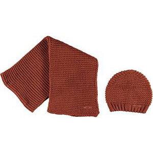 NOBELL meisjes muts en sjaal set leather brown raya
