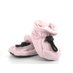 MELTON baby slofjes roze met ribstof blits