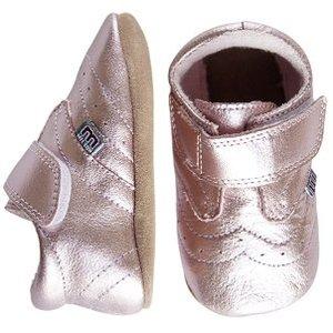 MELTON leren baby schoentjes roze metallic (met Suède zooltje)