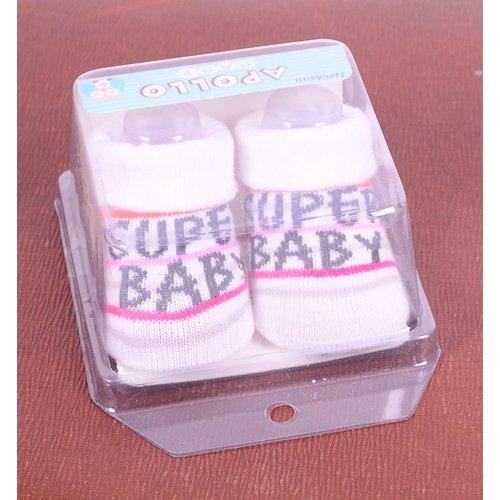 APOLLO sokjes Super Baby wit met zwart giftbox! Newborn - Roze streep